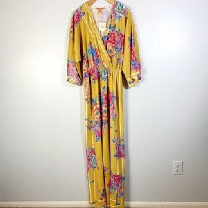 NWT! FLYING TOMATO Jumpsuit Mustard Floral Pants